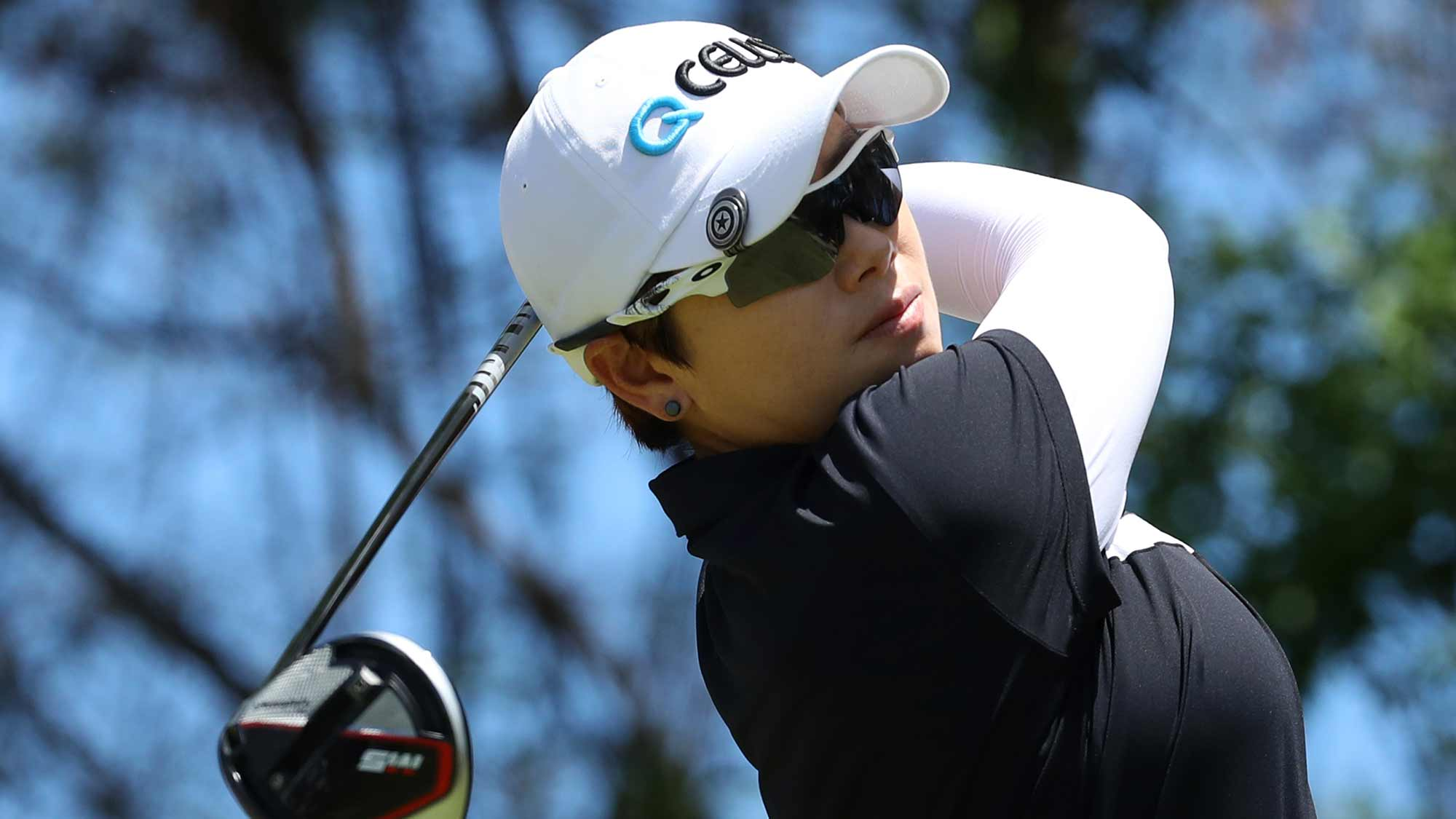 Eun-Hee Ji of South Korea watches her her drive on the fifth hole during the third round of the LOTTE Championship on April 20, 2019 in Kapolei, Hawaii