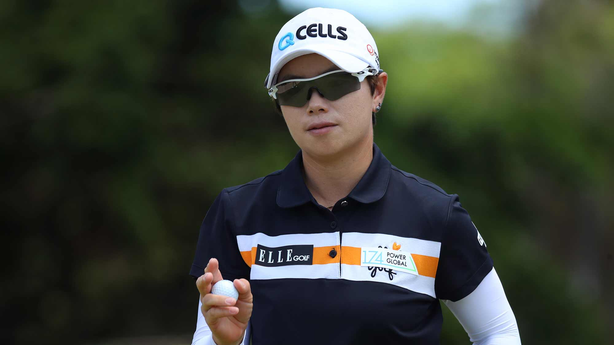 Eun-Hee Ji of South Korea reacts to a par on the fourth green during the third round of the LOTTE Championship on April 20, 2019 in Kapolei, Hawaii