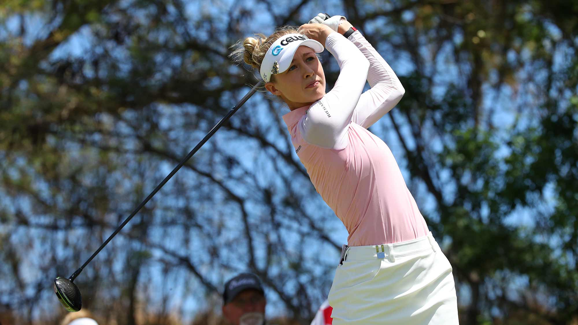 Nelly Korda watches her drive on the fifth hole during the third round of the LOTTE Championship on April 20, 2019 in Kapolei, Hawaii