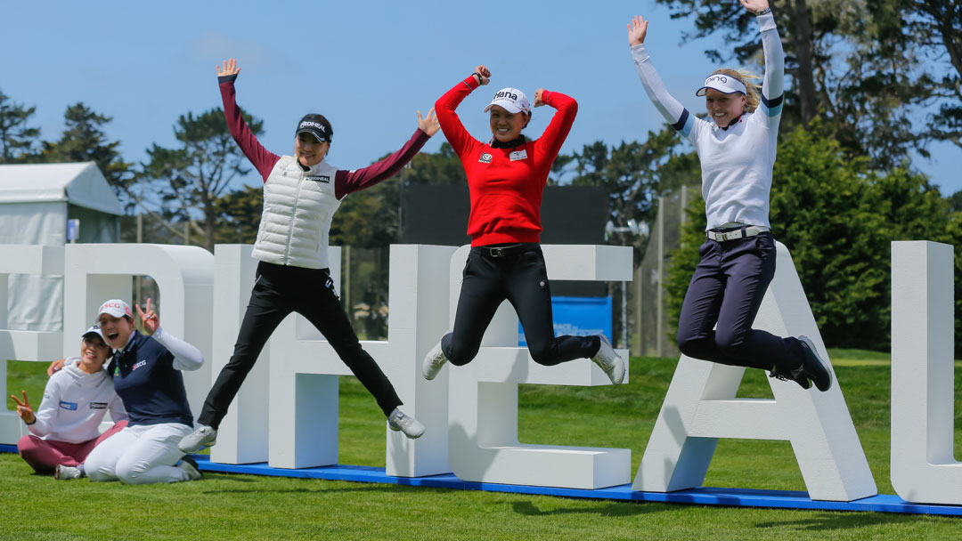 Left to Right: Lydia Ko, Ariya Jutanugarn, So Yeon Ryu, Minjee Lee and Brooke Henderson take part in a photoshoot before the 2019 LPGA MEDIHEAL Championship