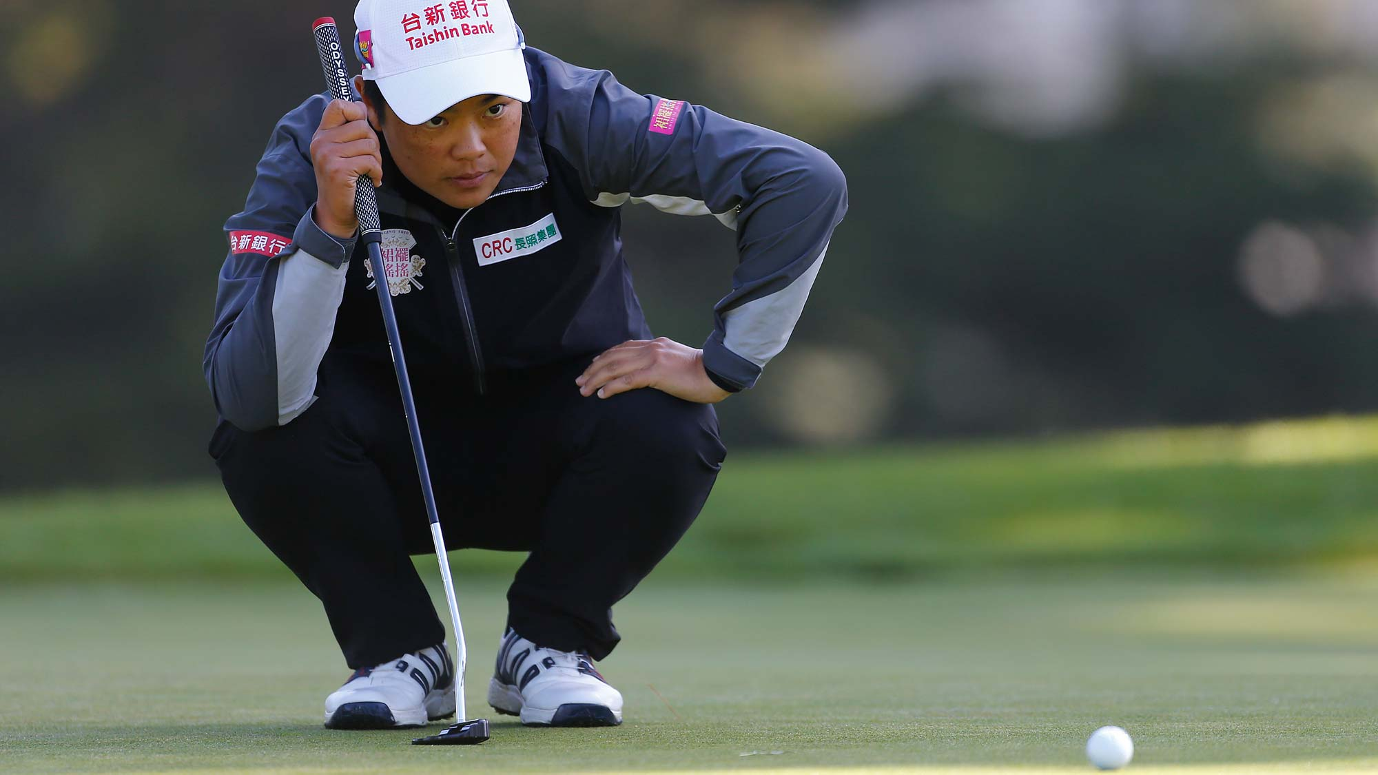 Peiyun Chien of Taiwan lines up a putt on the 10th hole during the first round of the LPGA Mediheal Championship