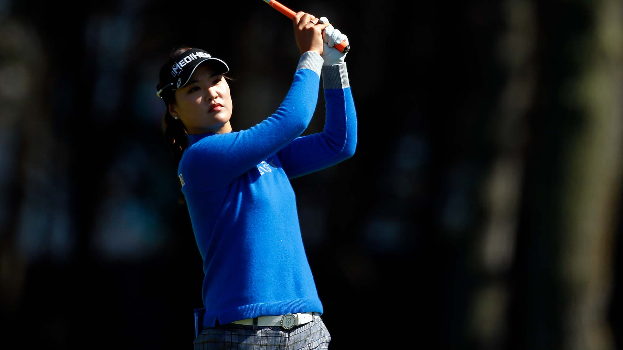 So Yeon Ryu of South Korea hits on the 18th hole during the first round of the LPGA Mediheal Championship