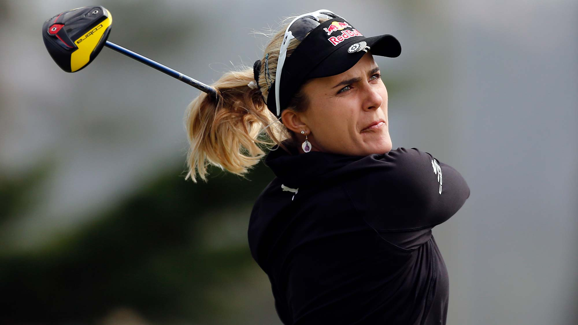 Lexi Thompson hits on the 9th hole during the second round of the LPGA Mediheal Championship