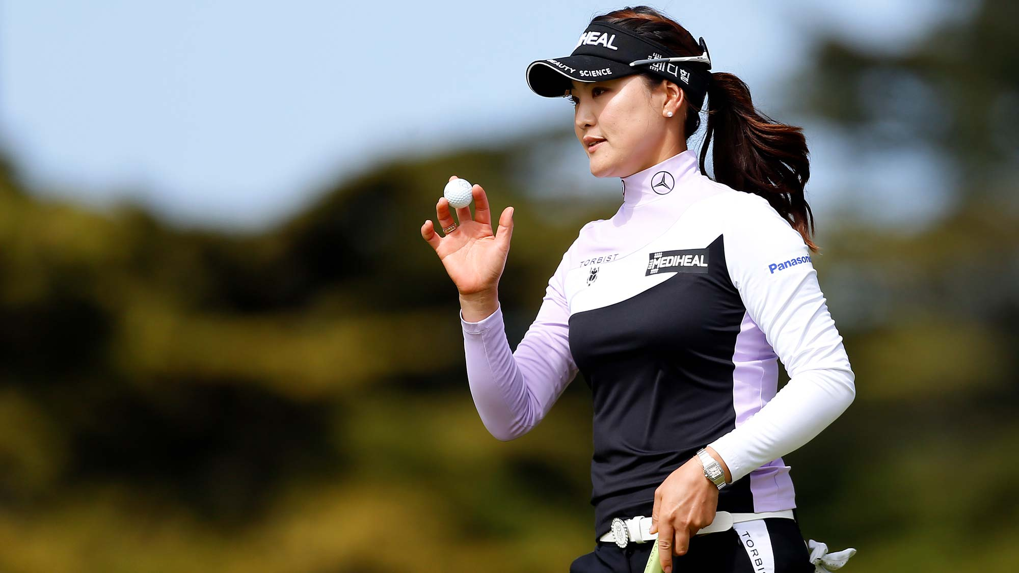 So Yeon Ryu of South Korea waves to the crowd on the 10th hole during the second round of the LPGA Mediheal Championship