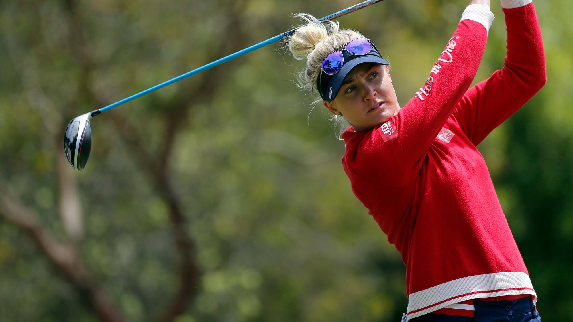 Charley Hull of England hits on the 2nd hole during the third round of the LPGA Mediheal Championship