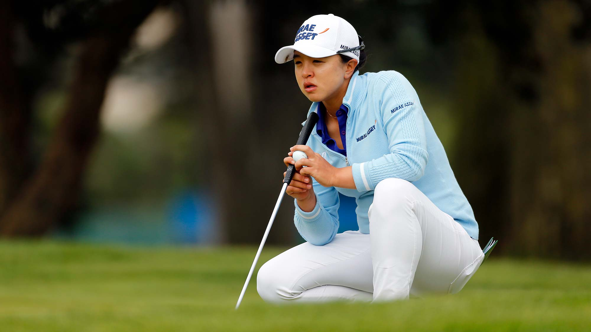 Sei Young Kim of South Korea lines up a putt on the 10th hole during the third round of the LPGA Mediheal Championship