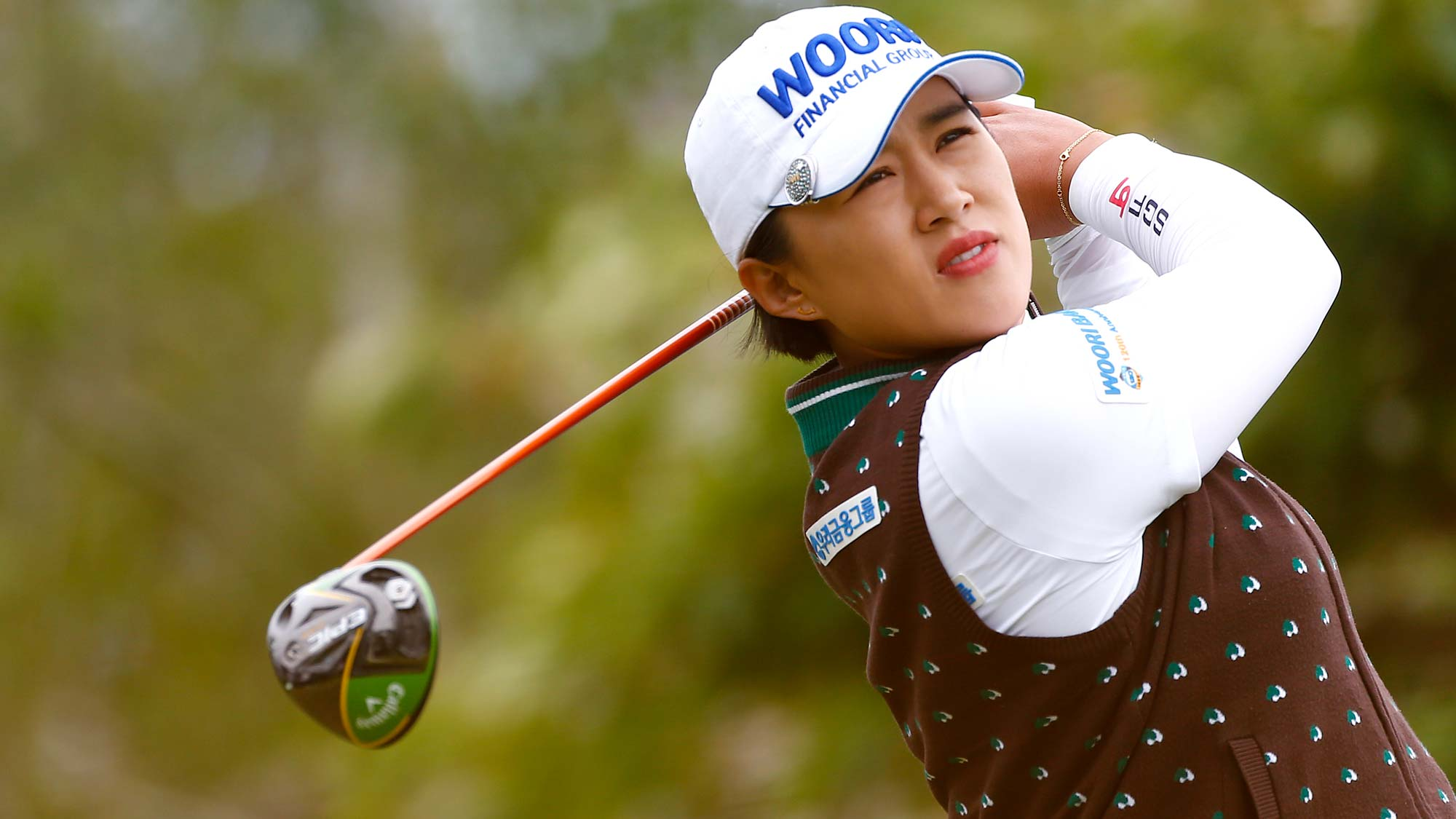 Amy Yang of South Korea tees off on the 2nd hole during the final round of the LPGA Mediheal Championship