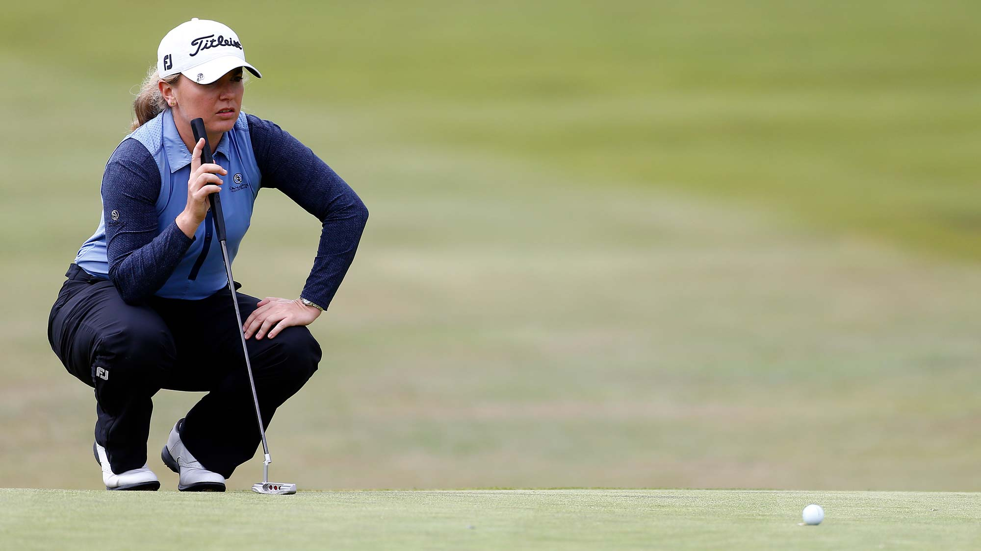 Bronte Law of England lines up a putt after on the 18th green during the final round of the LPGA Mediheal Championship