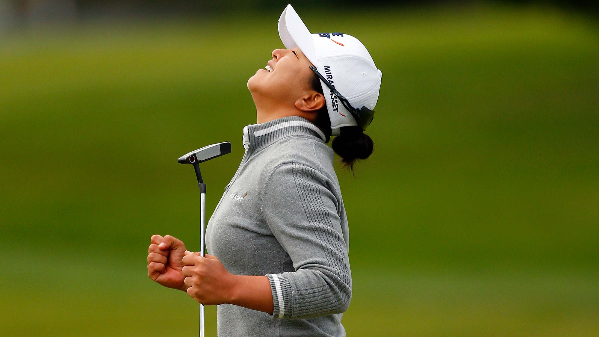 Sei Young Kim of South Korea celebrates making a birdie putt in a sudden death playoff to win during the final round of the LPGA Mediheal Championship