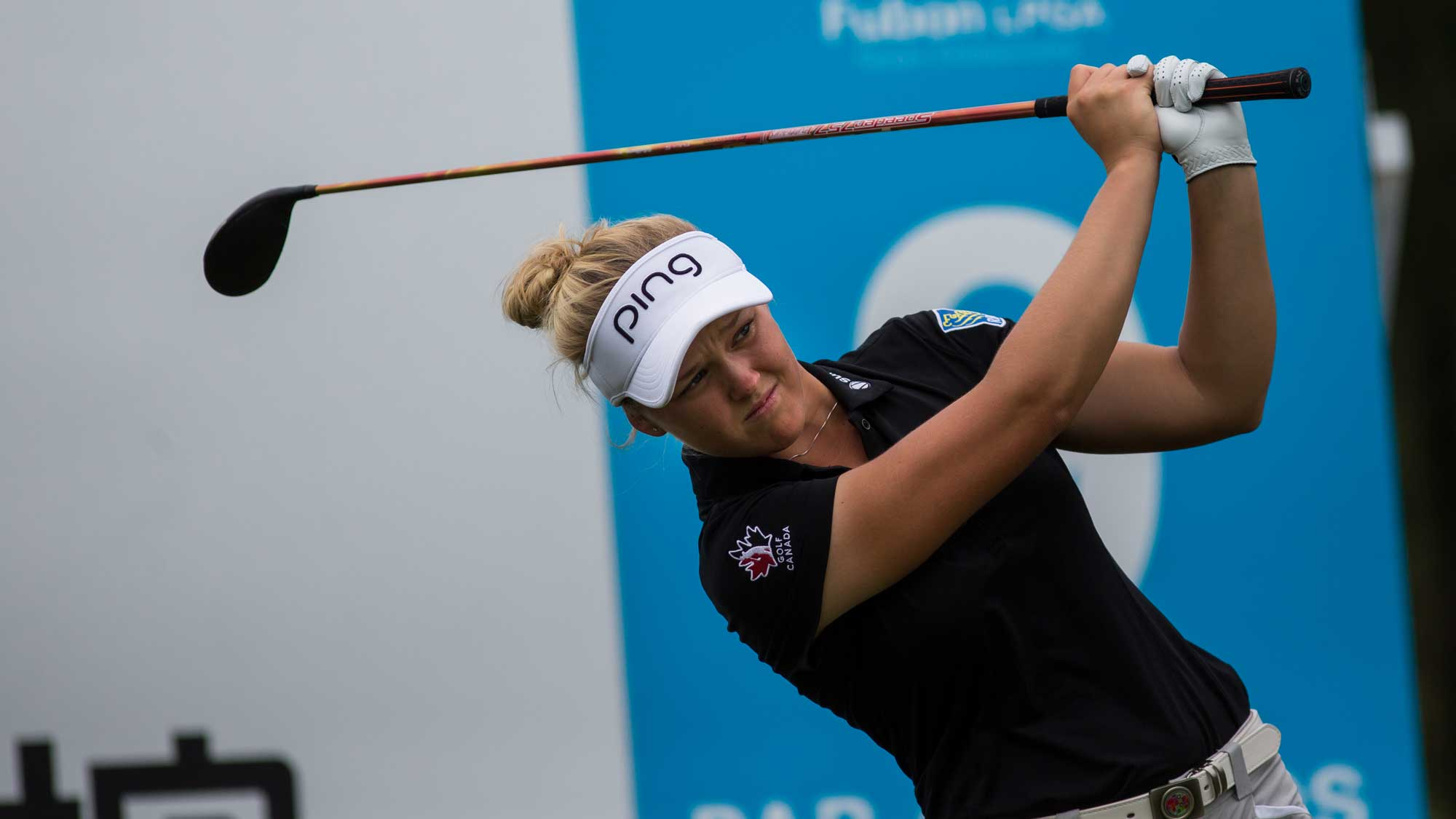 Brooke M. Henderson of Canada plays a shot in the Fubon Taiwan LPGA Championship