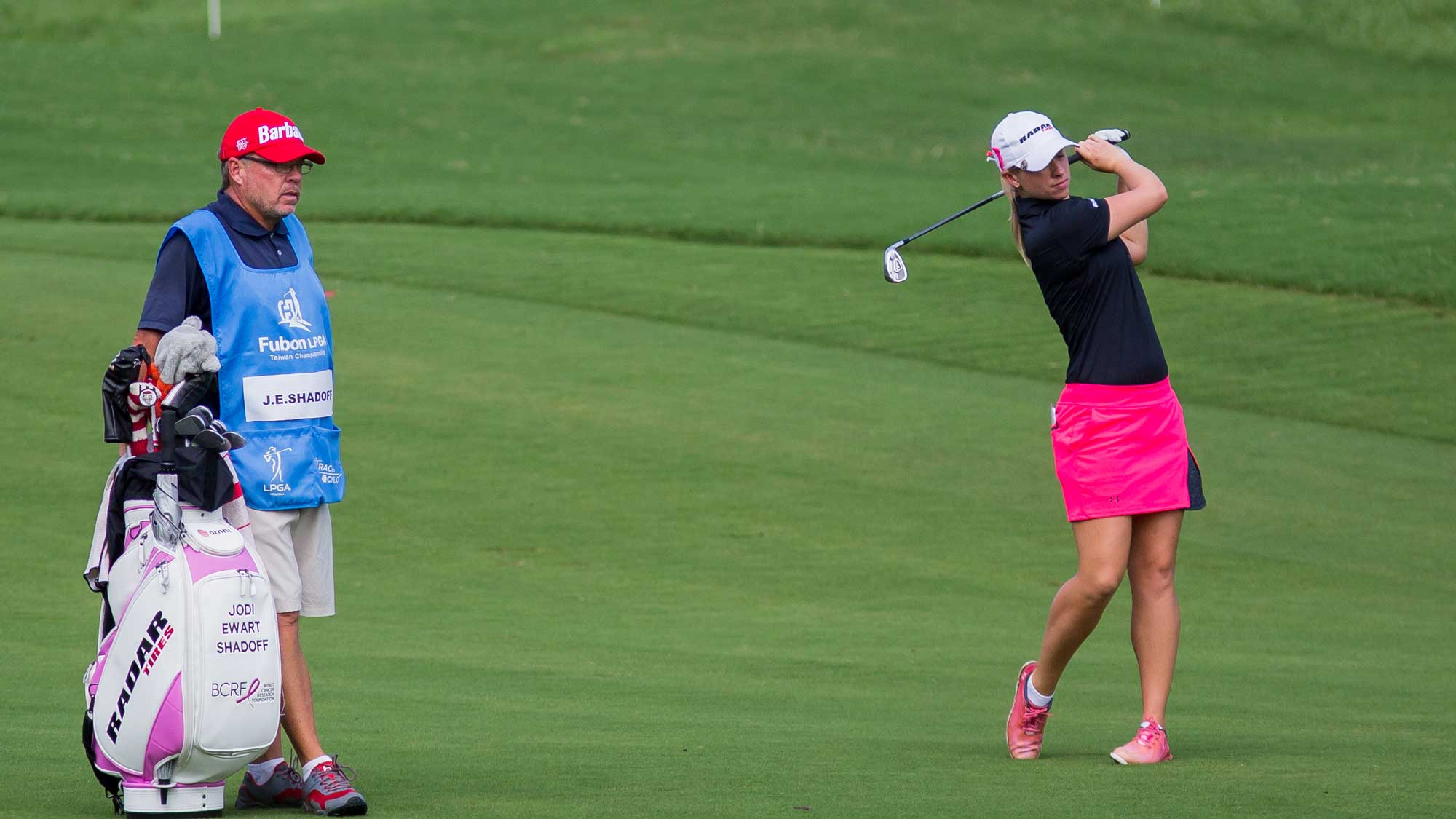 Jodi Ewart Shadoff of North Yorkshire, England plays a shot in the Fubon Taiwan LPGA Championship