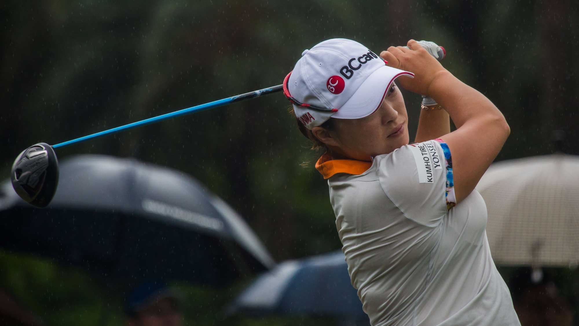 Ha Na Jang of Republic of Korea plays a shot in the Fubon Taiwan LPGA Championship