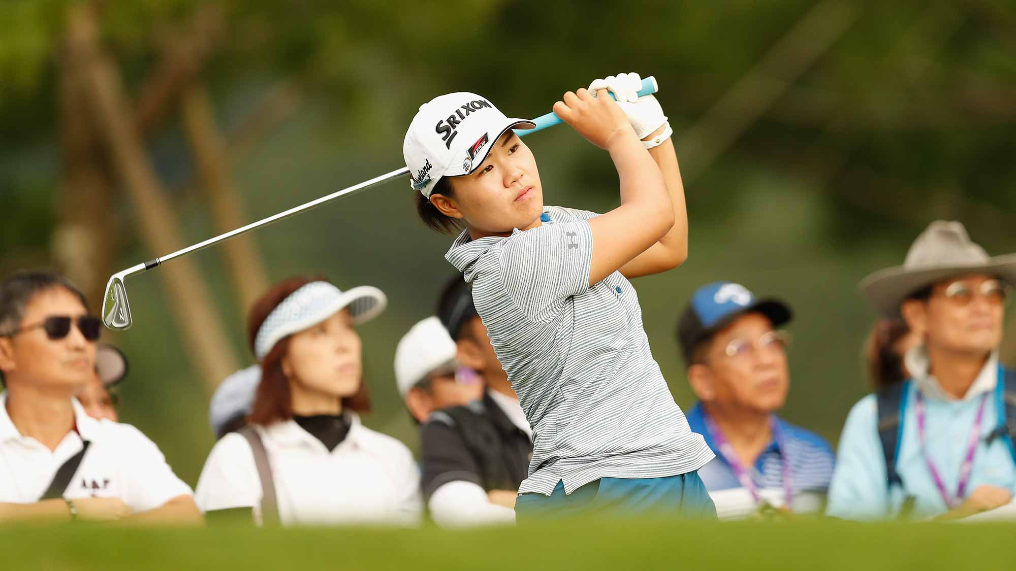 Nasa Hataoka of Japan plays a shot at the eighteen hole during the first round of the Swinging Skirts LPGA Taiwan Championship at Ta Shee Golf & Country Club on October 25, 2018 in Taoyuan, Chinese Taipei
