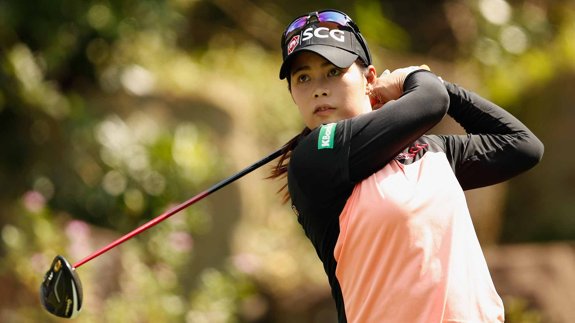Moriya Jutanugarn of Thailand plays his tee shot at hole # 2 during the first round of the Swinging Skirts LPGA Taiwan Championship at Ta Shee Golf & Country Club on October 25, 2018 in Taoyuan, Chinese Taipei