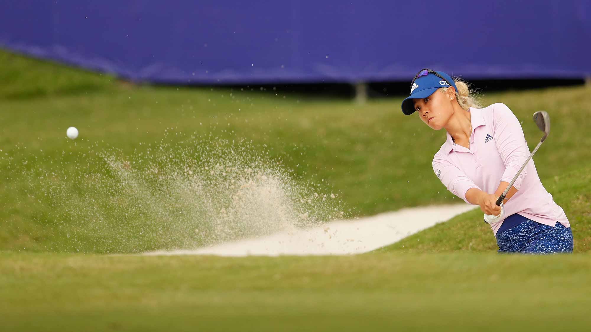 Danielle Kang of United States in action at the eighteen hole during the first round of the Swinging Skirts LPGA Taiwan Championship at Ta Shee Golf & Country Club on October 25, 2018 in Taoyuan, Chinese Taipei