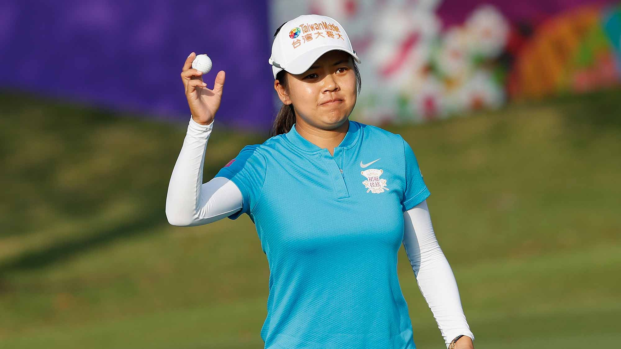 Wei-Ling Hsu of Chinese Taipei acknowledges to spectators after her shot at eighteen hole during the second round of the Swinging Skirts LPGA Taiwan Championship at Ta Shee Golf & Country Club on October 26, 2018 in Taoyuan, Chinese Taipei
