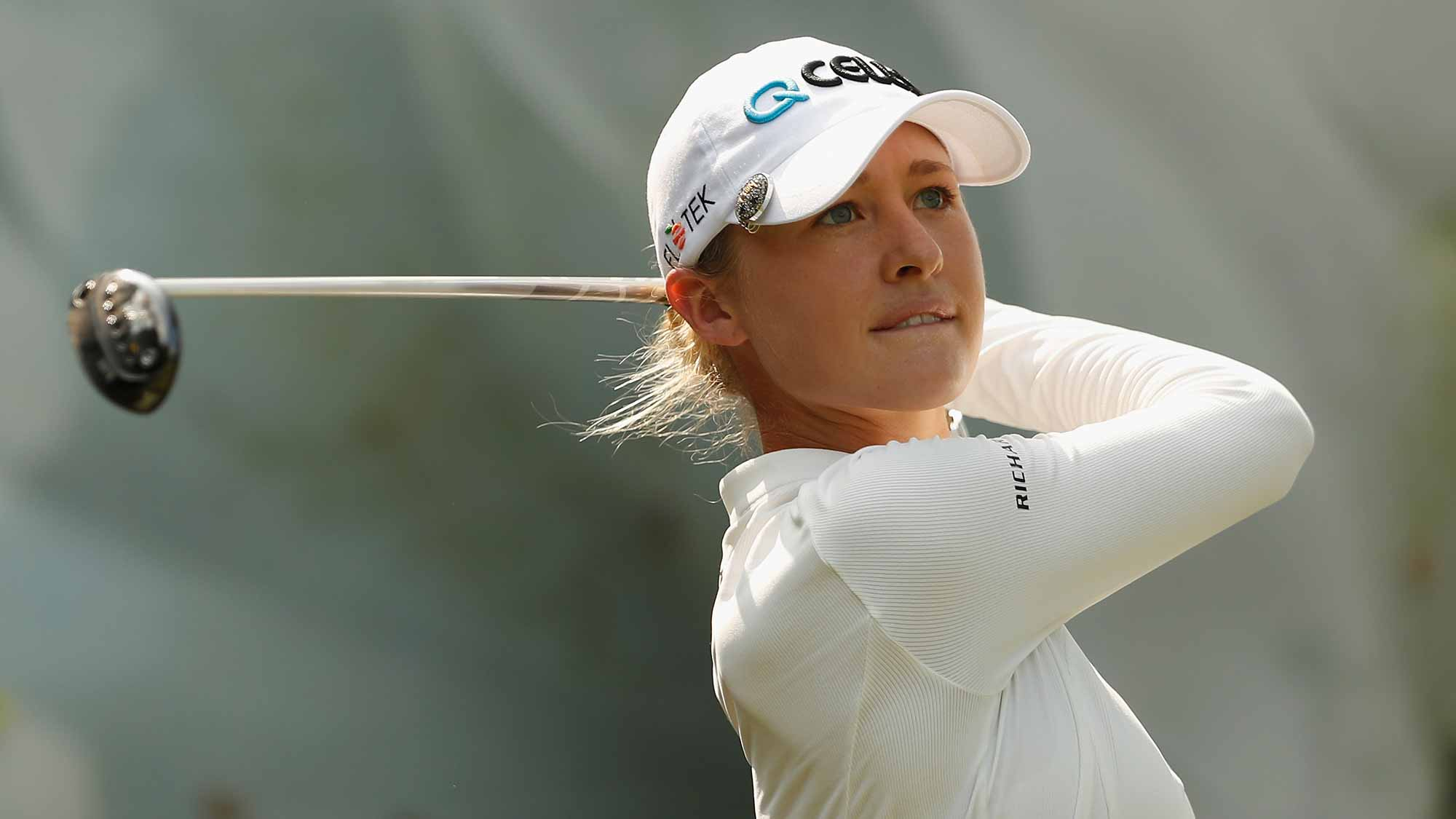 Nelly Korda of United States plays a shot during the second round of the Swinging Skirts LPGA Taiwan Championship at Ta Shee Golf & Country Club on October 26, 2018 in Taoyuan, Chinese Taipei