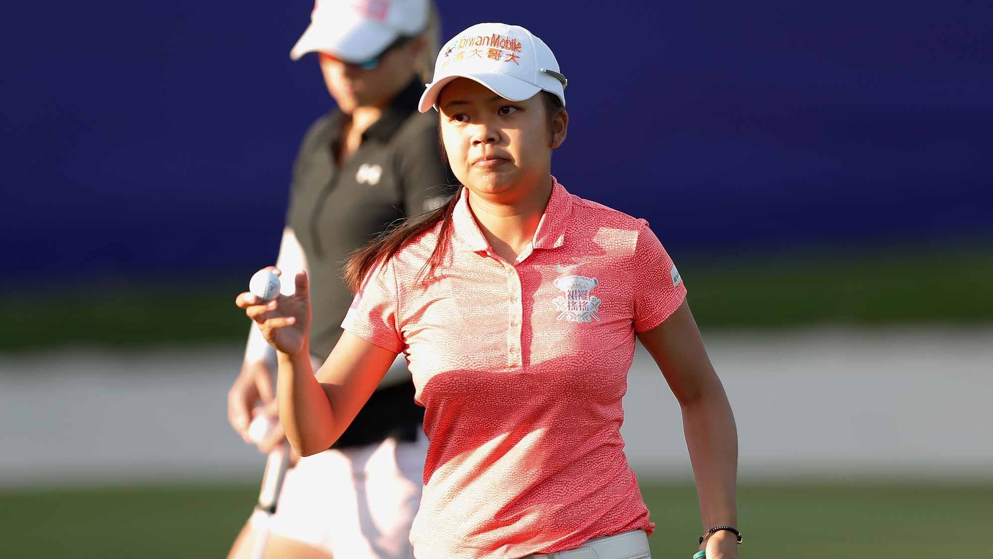 Wei-Ling Hsu acknowledges to spectators at the eighteenth hole during the third round of the Swinging Skirts LPGA Taiwan Championship at Ta Shee Golf & Country Club on October 27, 2018 in Taoyuan, Chinese Taipei