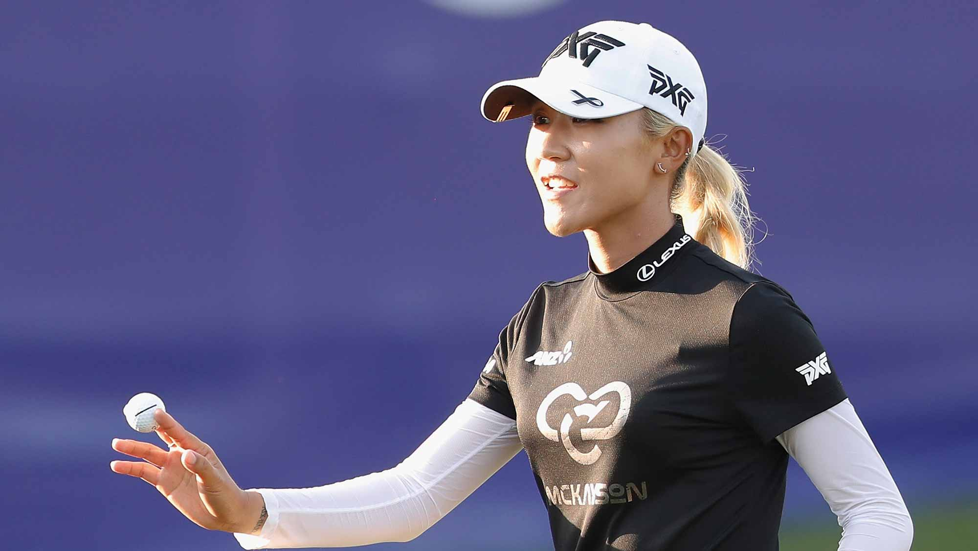 Lydia Ko of New Zealand acknowledges to the spectators at the eighteen hole during the third round of the Swinging Skirts LPGA Taiwan Championship at Ta Shee Golf & Country Club on October 27, 2018 in Taoyuan, Chinese Taipei