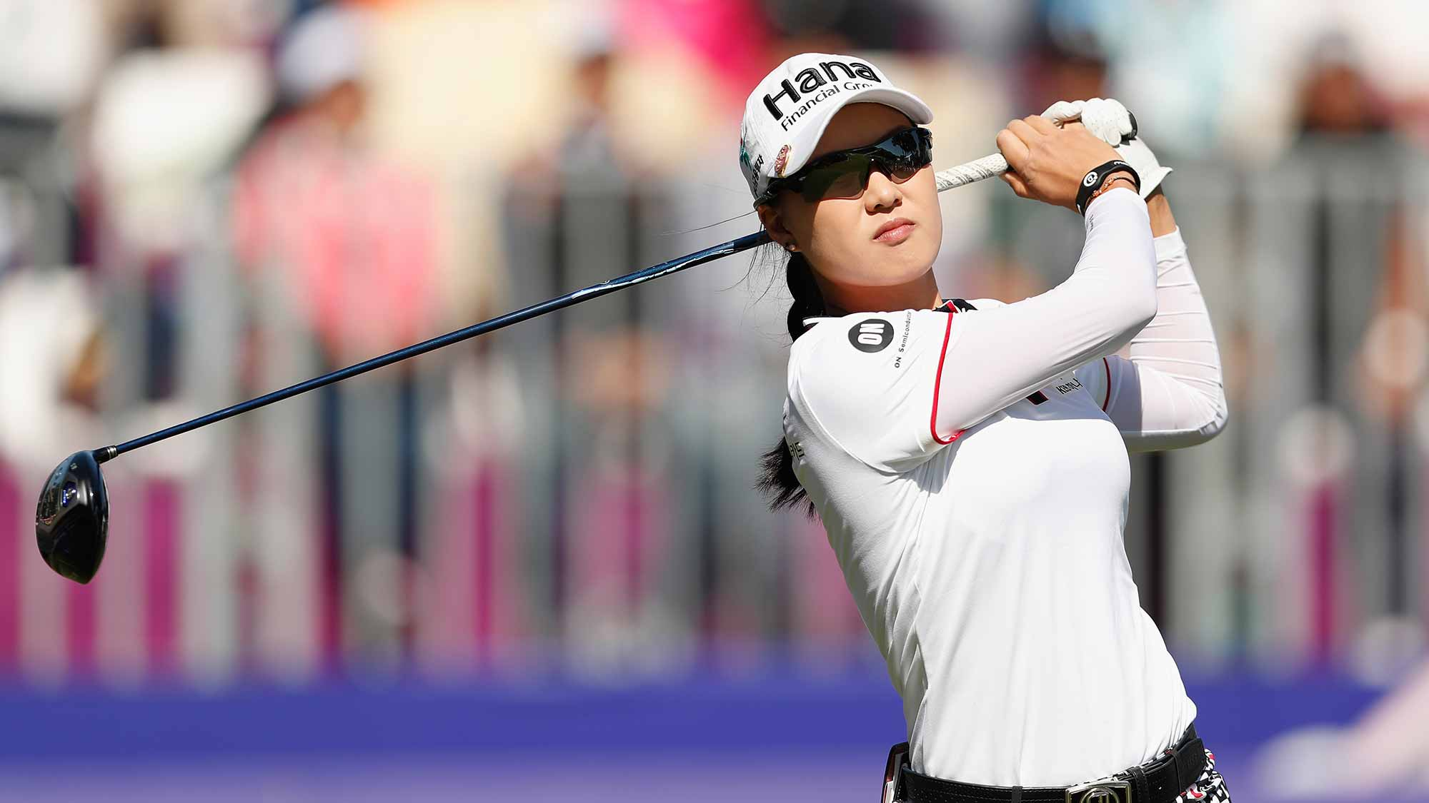 Minjee Lee of Australia tees off at the first hole during the final round of the Swinging Skirts LPGA Taiwan Championship at Ta Shee Golf & Country Club on October 28, 2018 in Taoyuan, Chinese Taipei