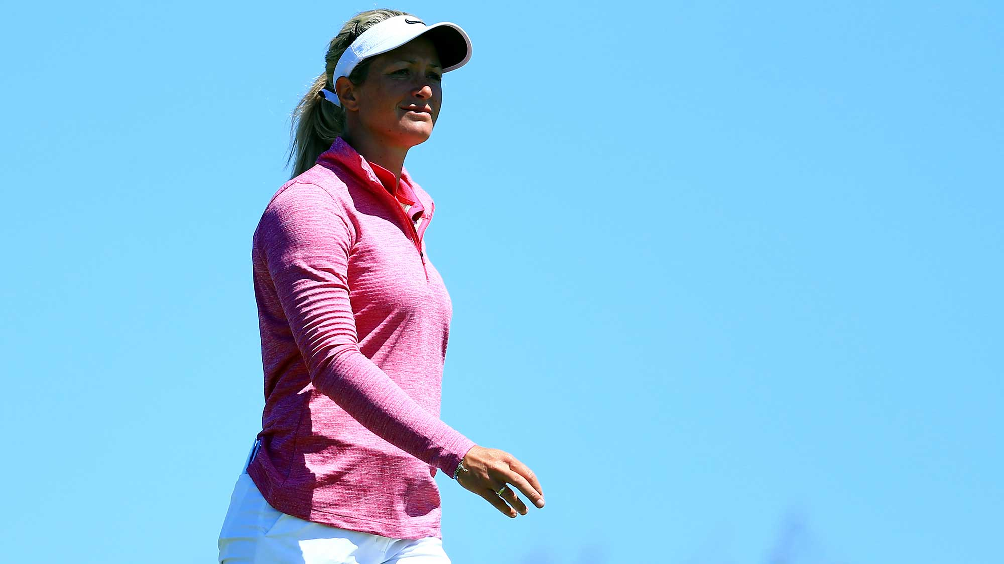 Suzann Pettersen of Norway walks down the 13th fairway during the first round of the Manulife LPGA Classic