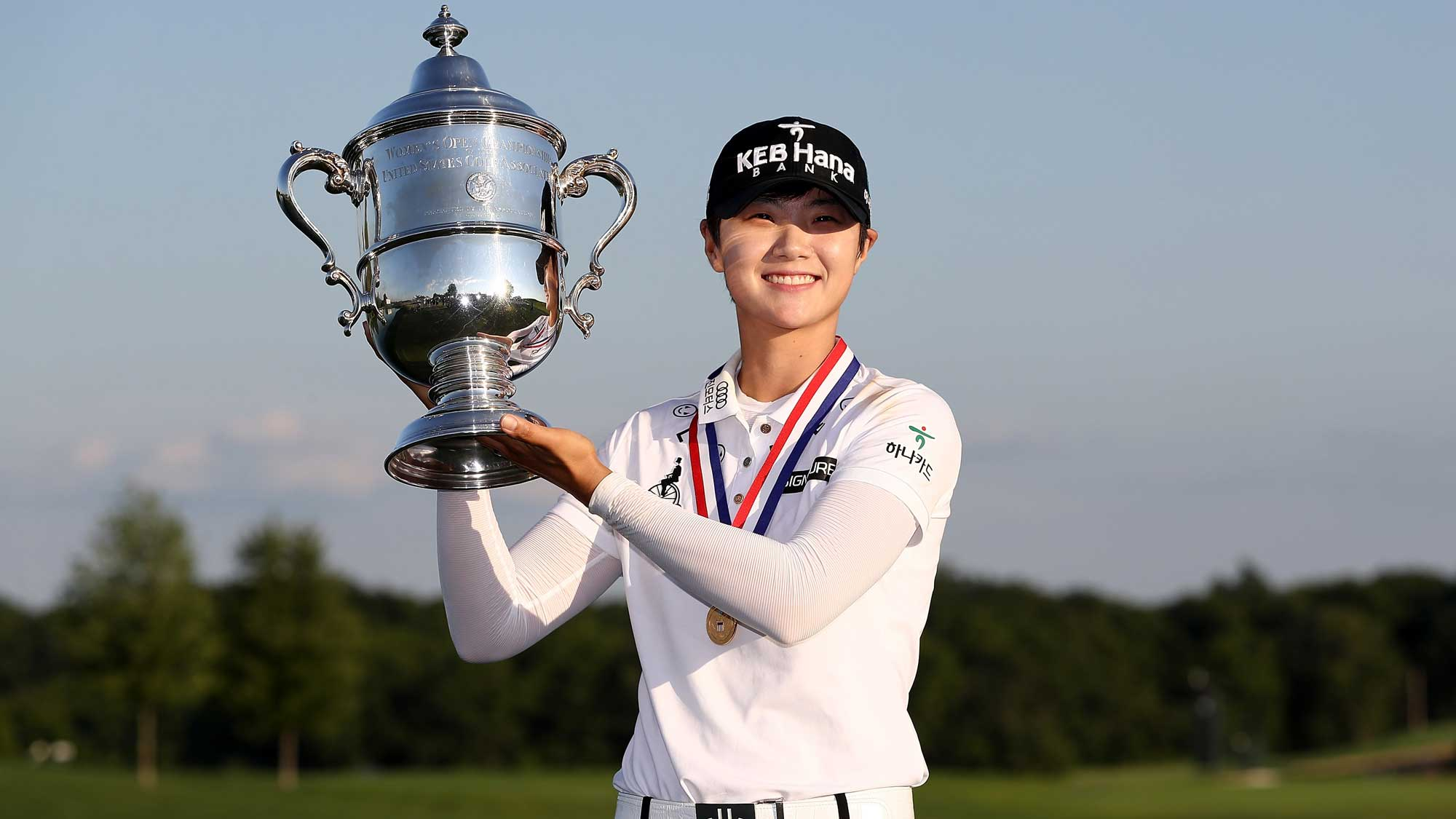 Sung Hyun Park of Korea poses with the trophy afer the final round of the U.S. Women's Open