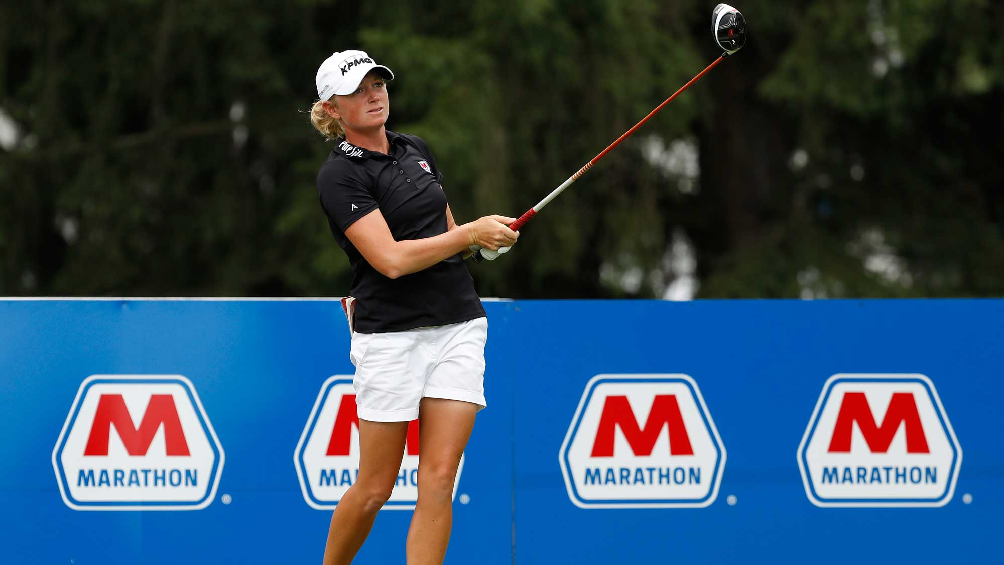 Stacy Lewis hits her drive on the 18th hole during the third round of the Marathon Classic presented by Owens Corning and O-I