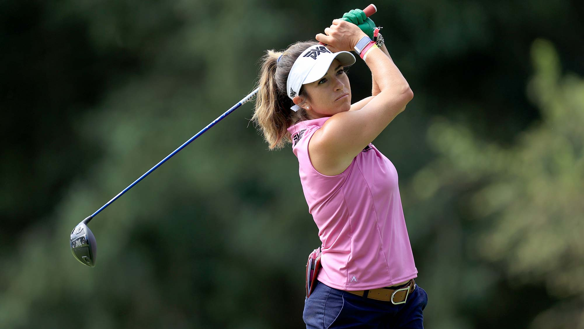Gerina Piller hits a tee shot on the seventh hole during the first round of the Marathon LPGA Classic at Highland Meadows Golf Club