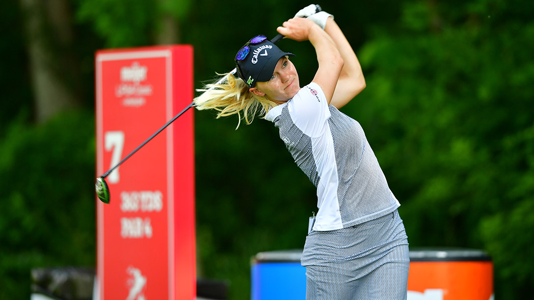 Madelene Sagstrom during a practice round prior to the 2017 Meijer LPGA Classic For Simply Give