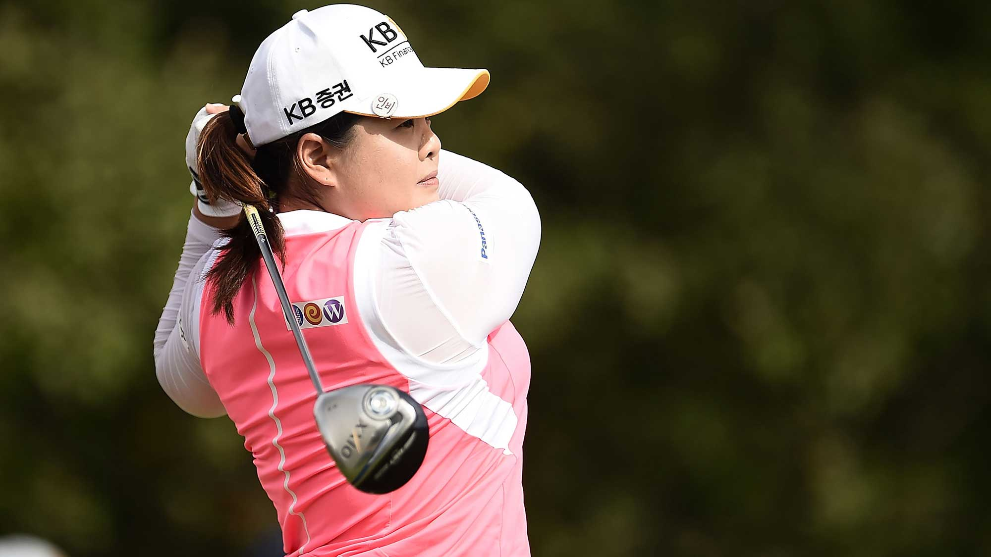 Inbee Park of South Korea hits her tee shot on the 16th hole during the second round of the Meijer LPGA Classic