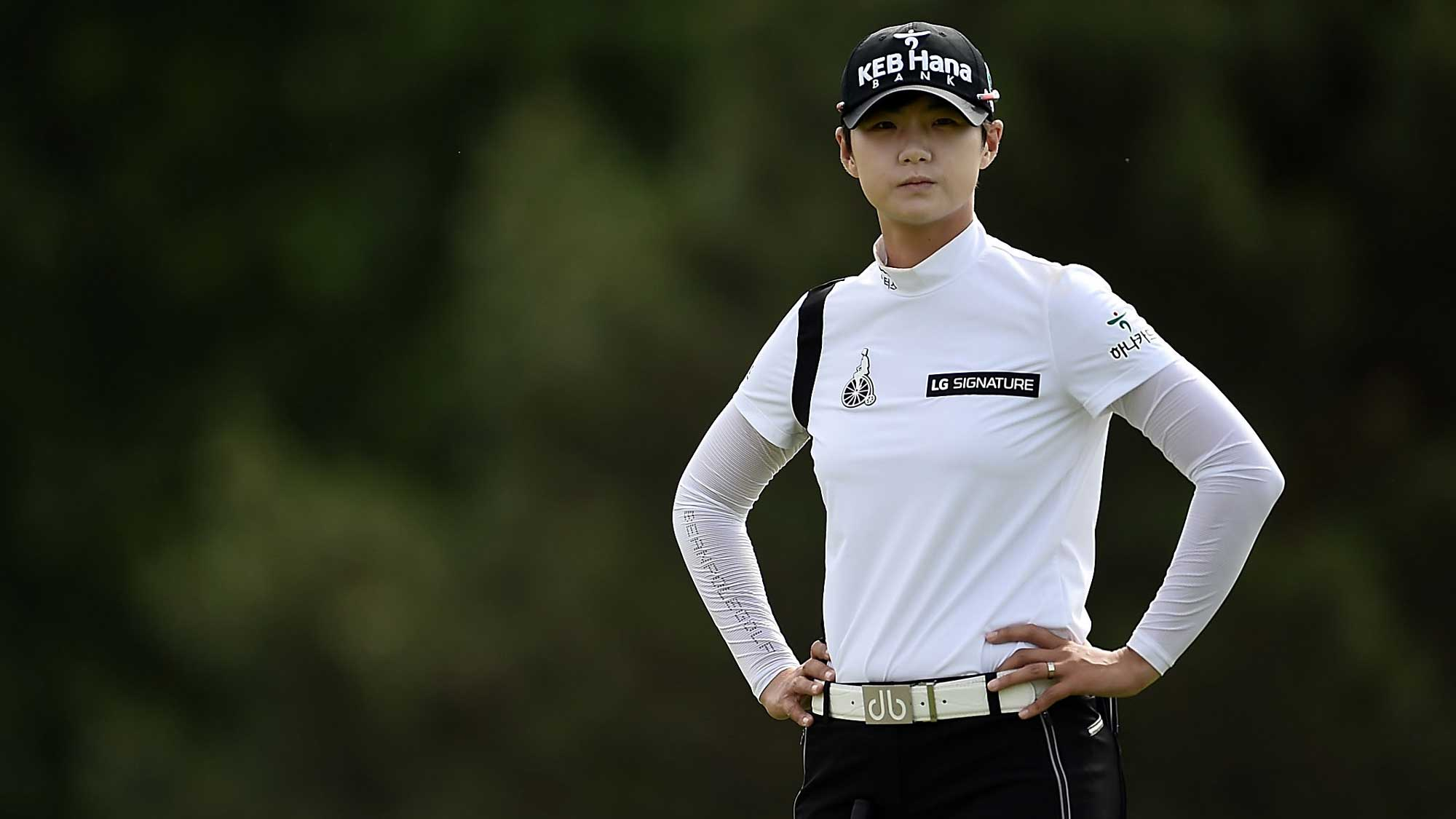 Sung Hyun Park of South Korea waits to putt on the 17th green during the second round of the Meijer LPGA Classic