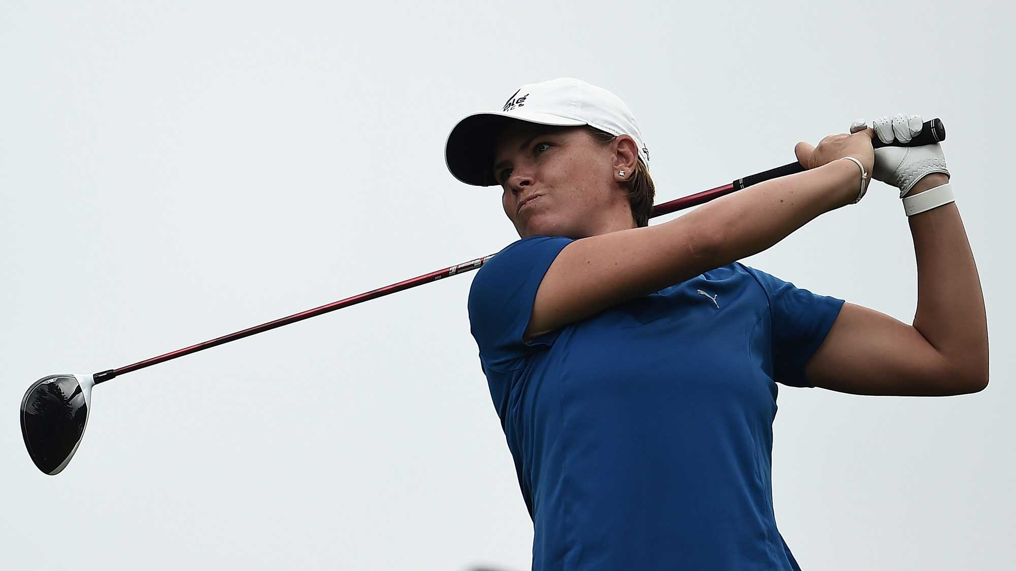 Lee-Anne Pace of South Africa hits her tee shot on the third hole during the third round of the Meijer LPGA Classic