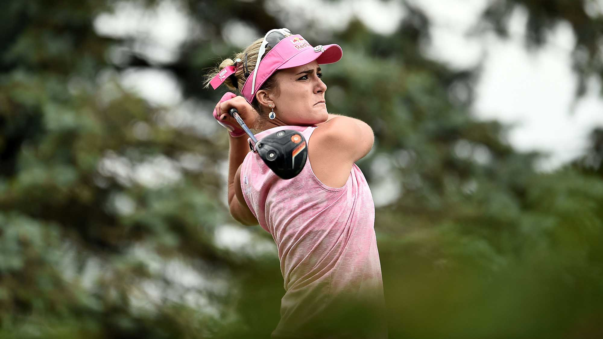 Lexi Thompson hits her tee shot on the third hole during the third round of the Meijer LPGA Classic