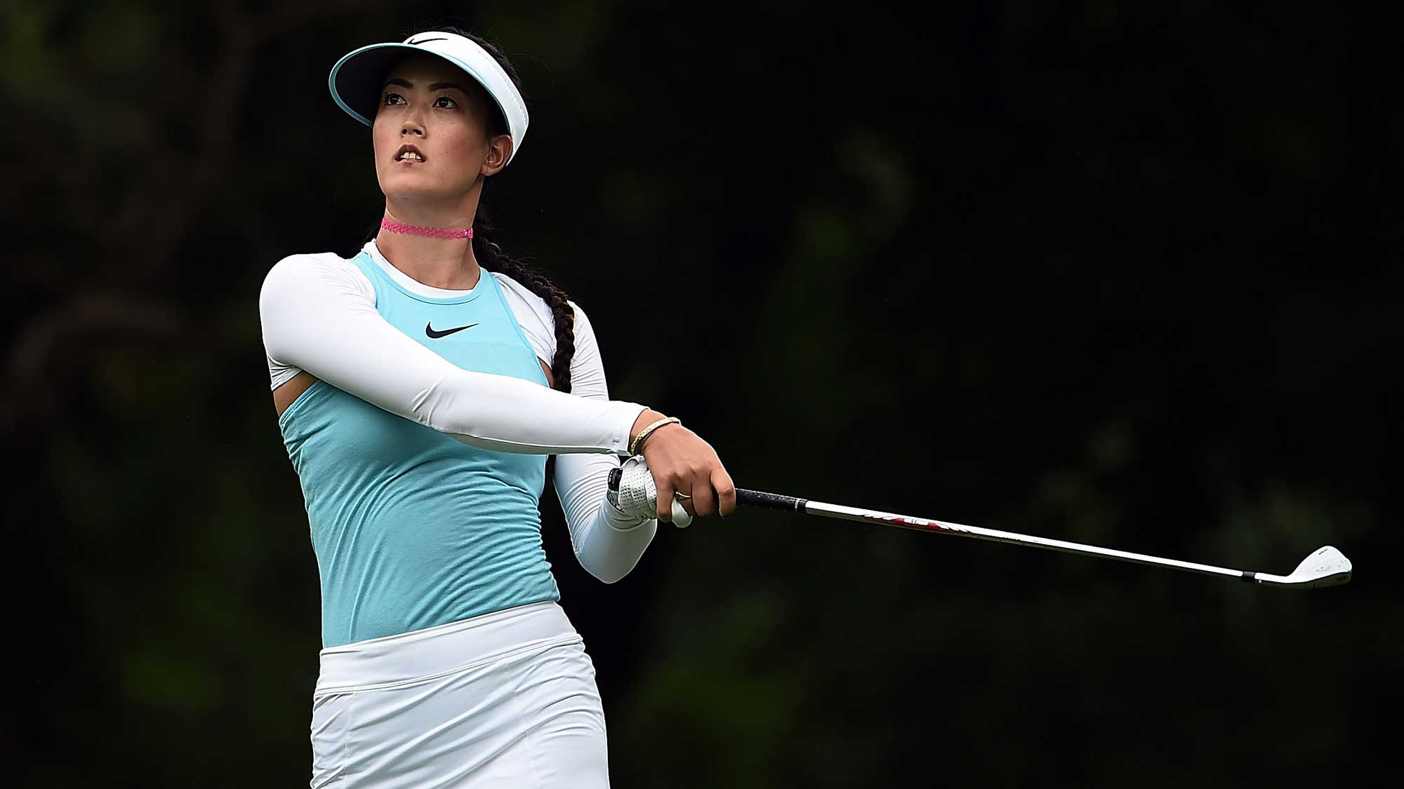 Michelle Wie hits her tee shot on the second hole during the third round of the Meijer LPGA Classic