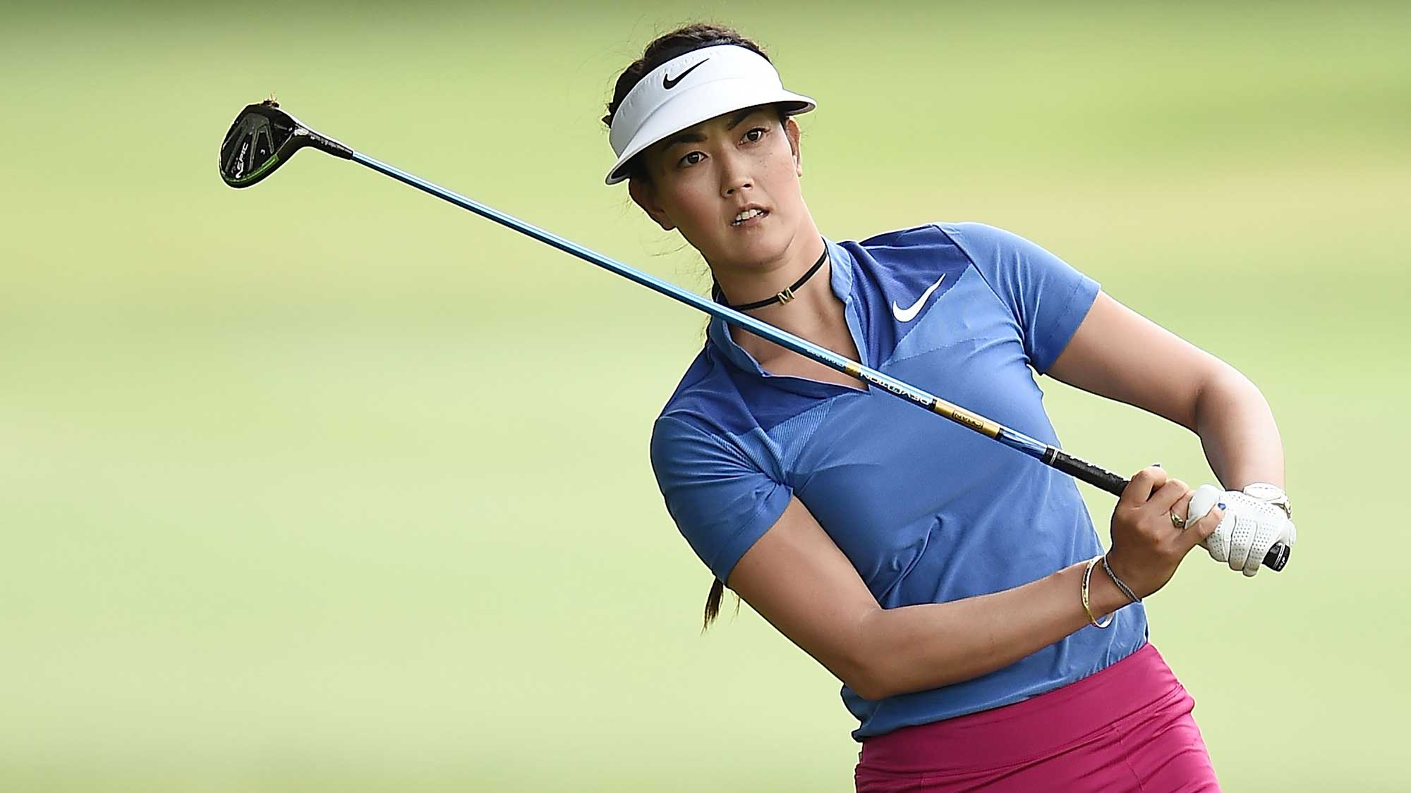 Michelle Wie hits her second shot on the first hole during the final round of the Meijer LPGA Classic
