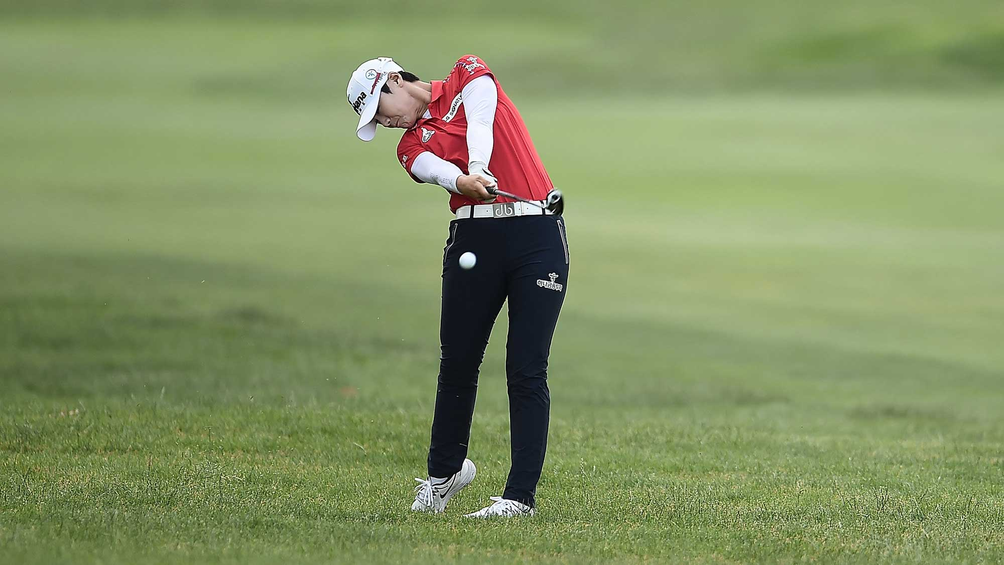Sung Hyun Park of South Korea hits her second shot on the first hole during the final round of the Meijer LPGA Classic