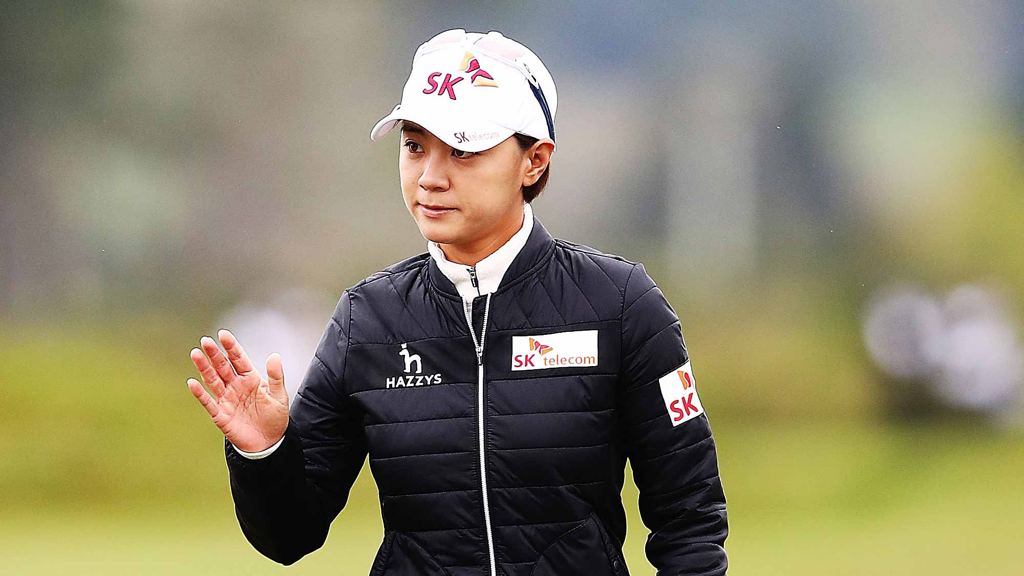 Na Yeon Choi of Korea acknowledges the crowd during day two of the New Zealand Women's Open at Windross Farm