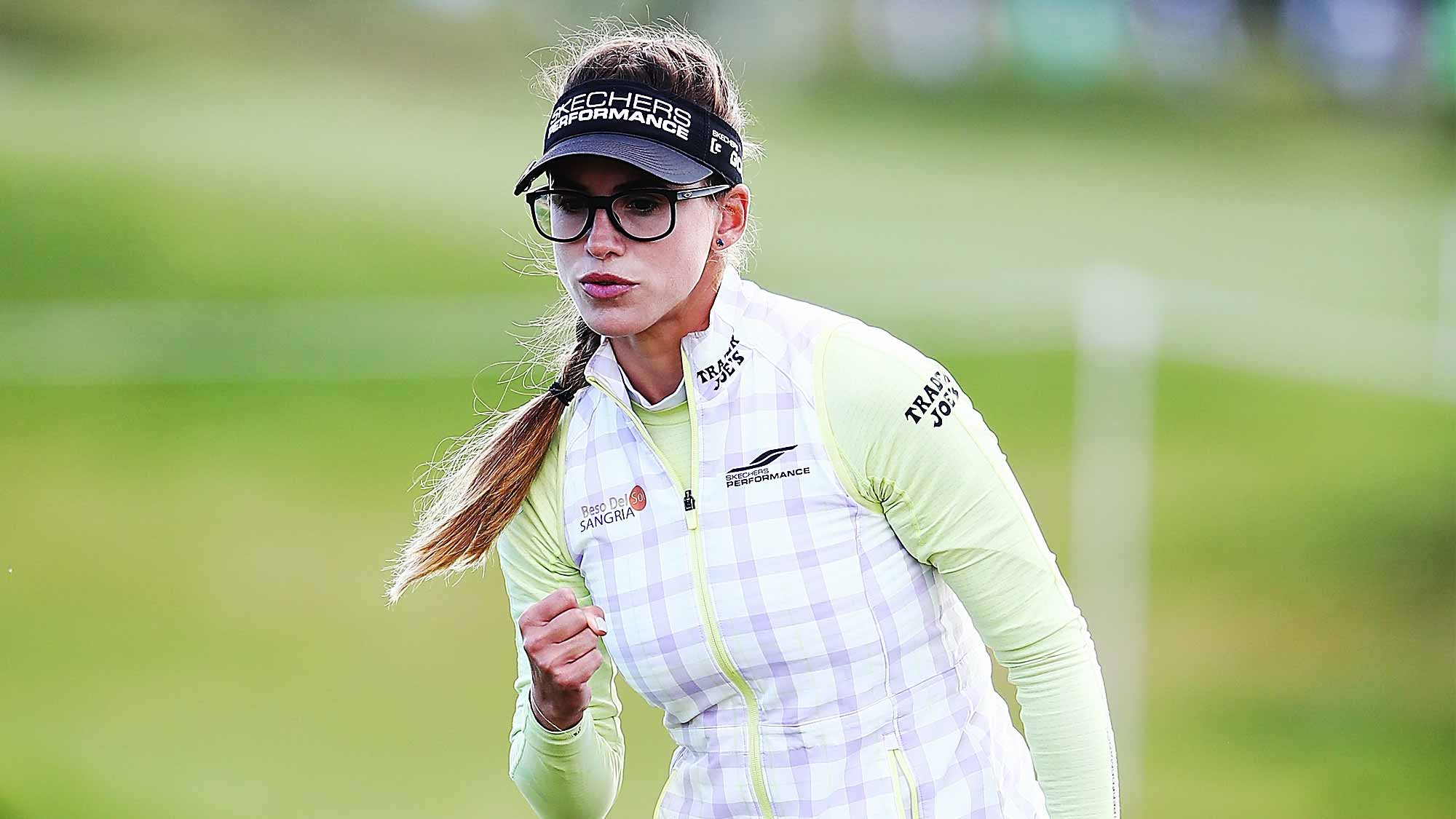 Belen Mozo of Spain celebrates after making a putt during day two of the New Zealand Women's Open at Windross Farm