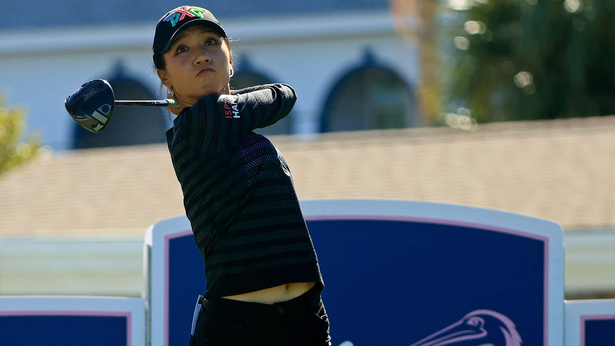 Lydia Ko hits her tee shot on the fifth hole during the second round of the Pelican Women's Championship