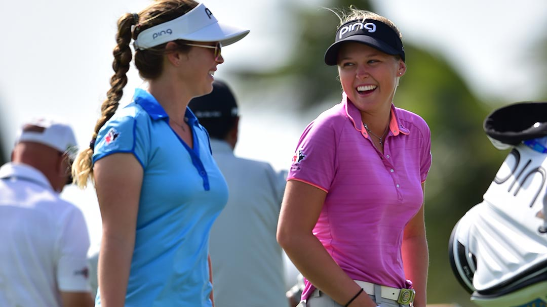 Brooke Henderson with her sister Brittany Henderson during a practice round at the 2017 Pure Silk Bahamas LPGA Classic