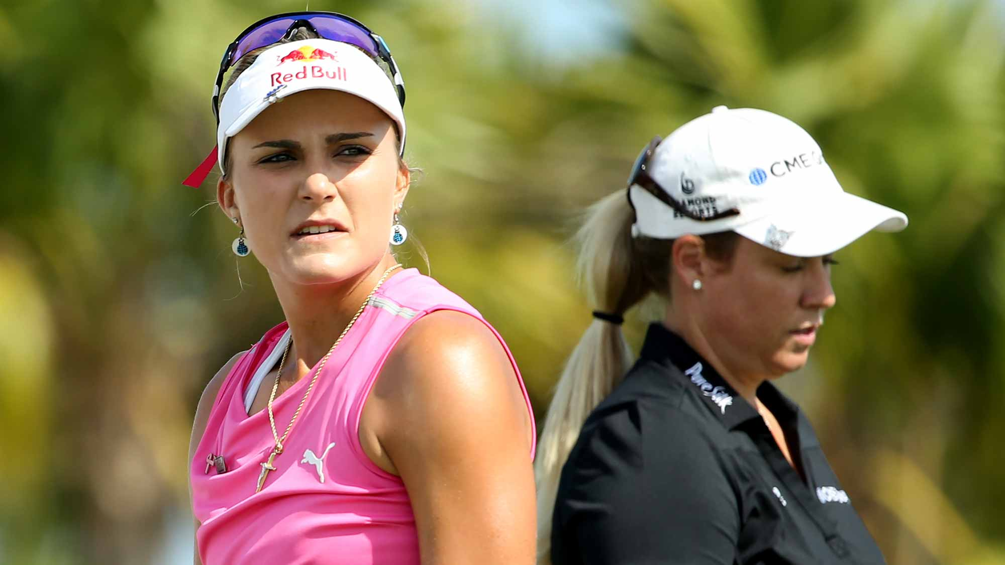 Lexi Thompson of the United States look on from the fourth tee during round three of the Pure Silk Bahamas LPGA Classic