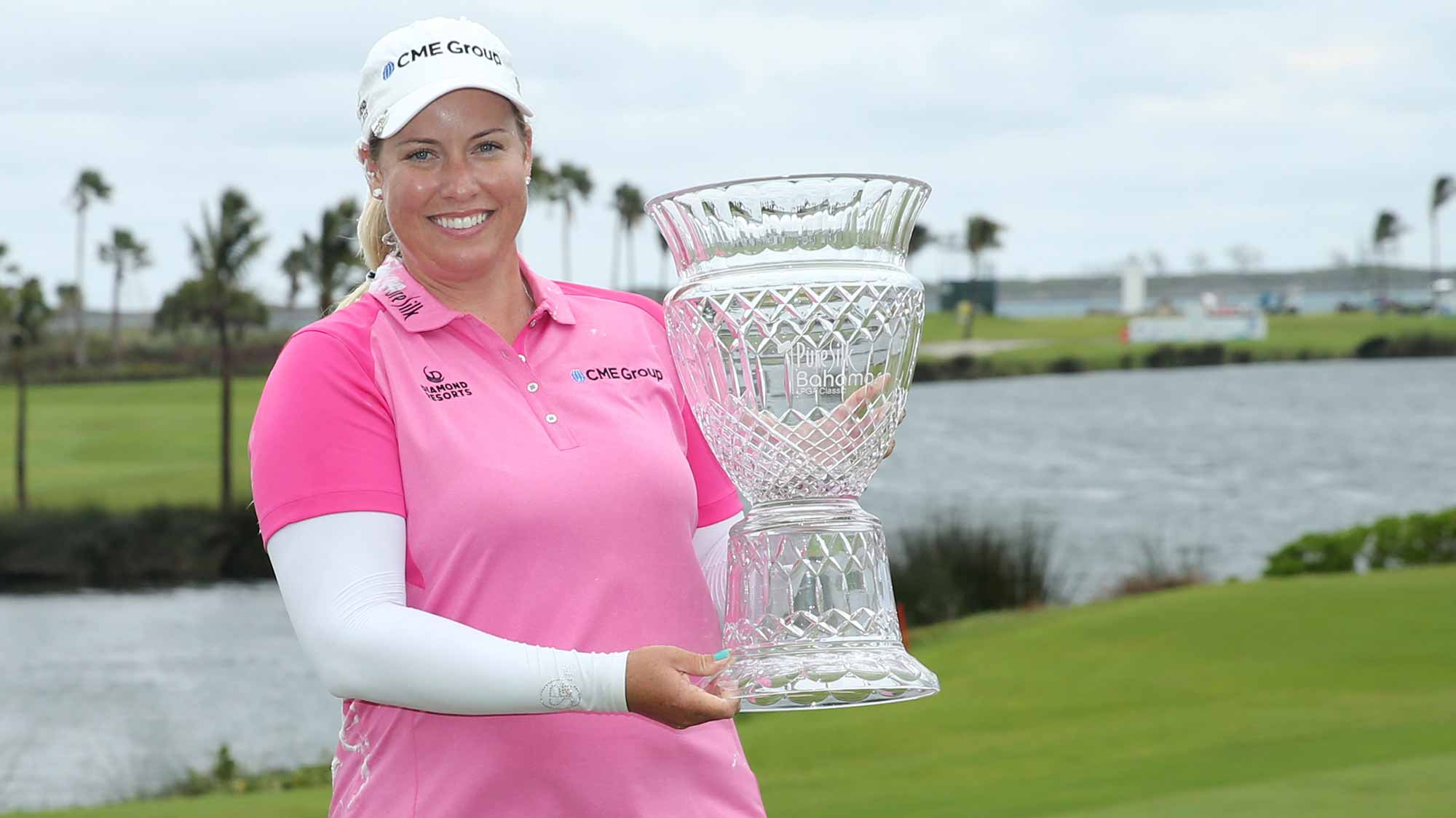 Brittany Lincicome of the United States poses with the trophy after the final round of the Pure Silk Bahamas LPGA Classic
