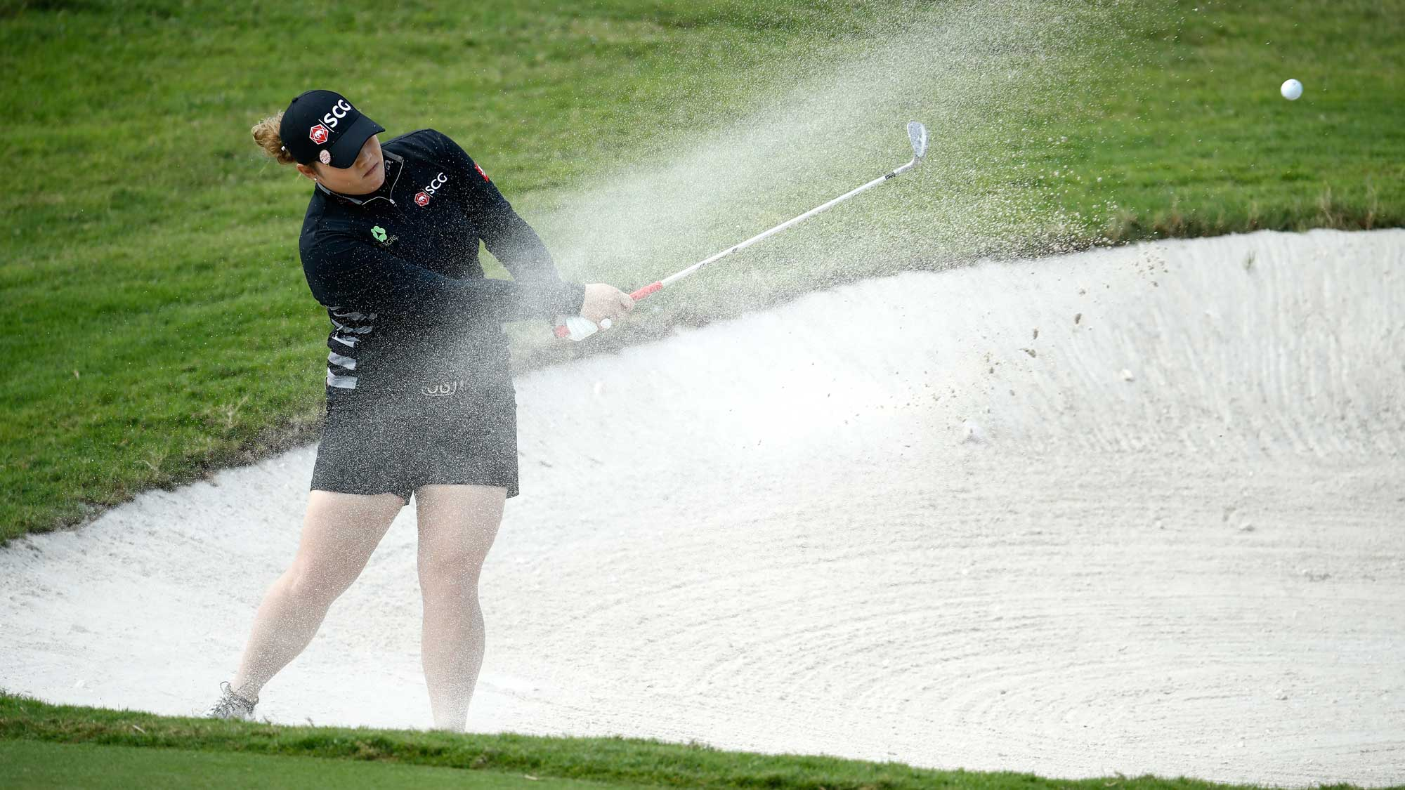 Ariya Jutanugarn of Thailand hits her third shot on the sixth hole during the second round of the Pure Silk Bahamas LPGA Classic