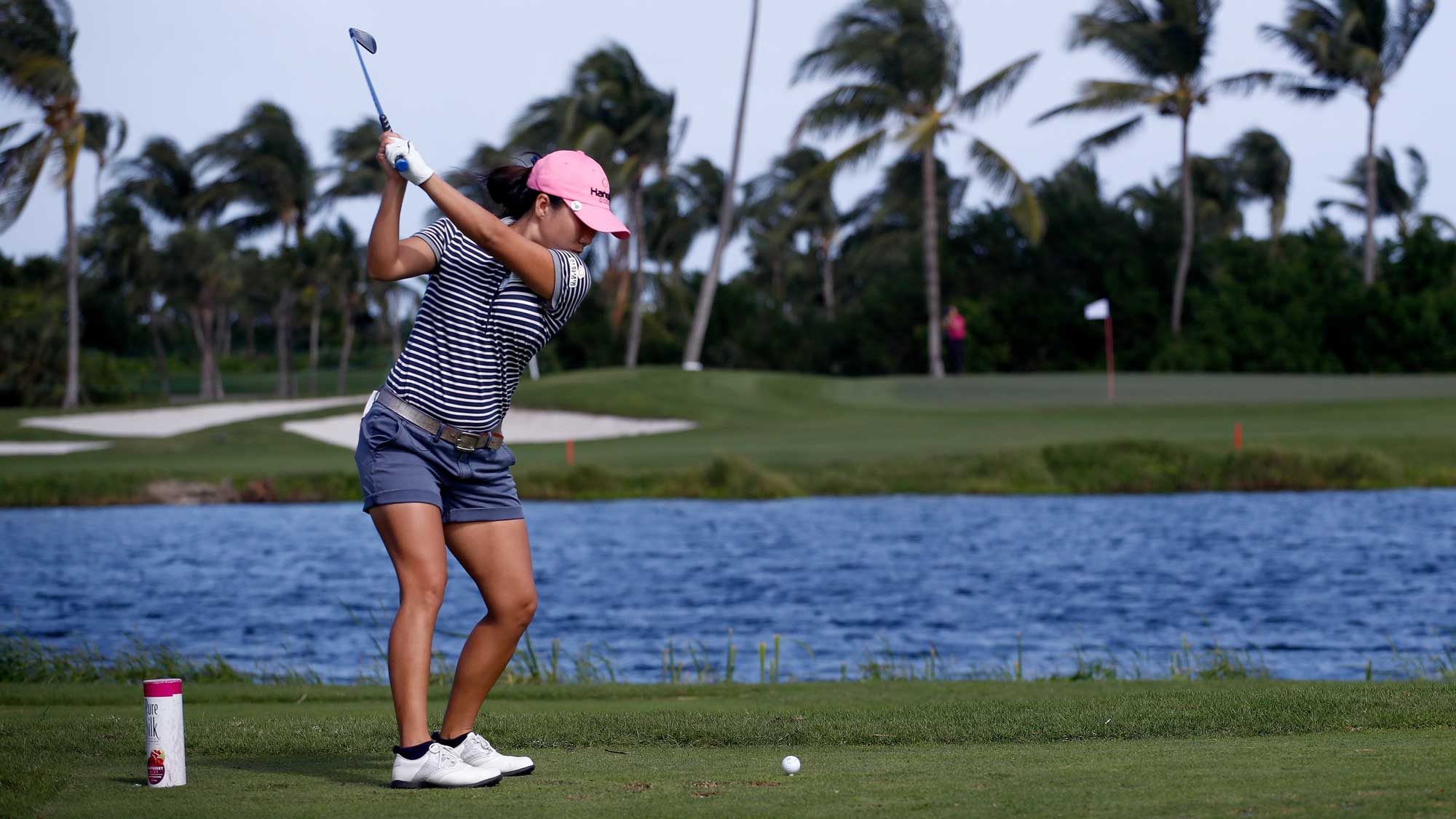 In-Kyung Kim of the Republic of Korea hits her tee shot on the third hole during the second round of the Pure Silk Bahamas LPGA Classic