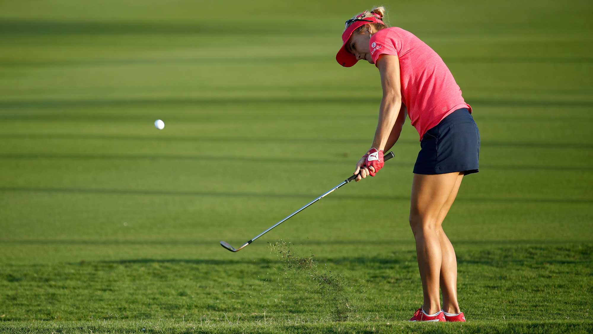 Lexi Thompson hits her third shot on the 15th hole during the second round of the Pure Silk Bahamas LPGA Classic