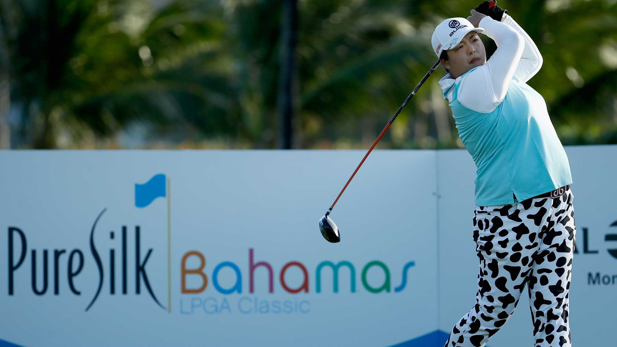 Shanshan Feng of China hits her tee shot on the 15th hole during the second round of the Pure Silk Bahamas LPGA Classic