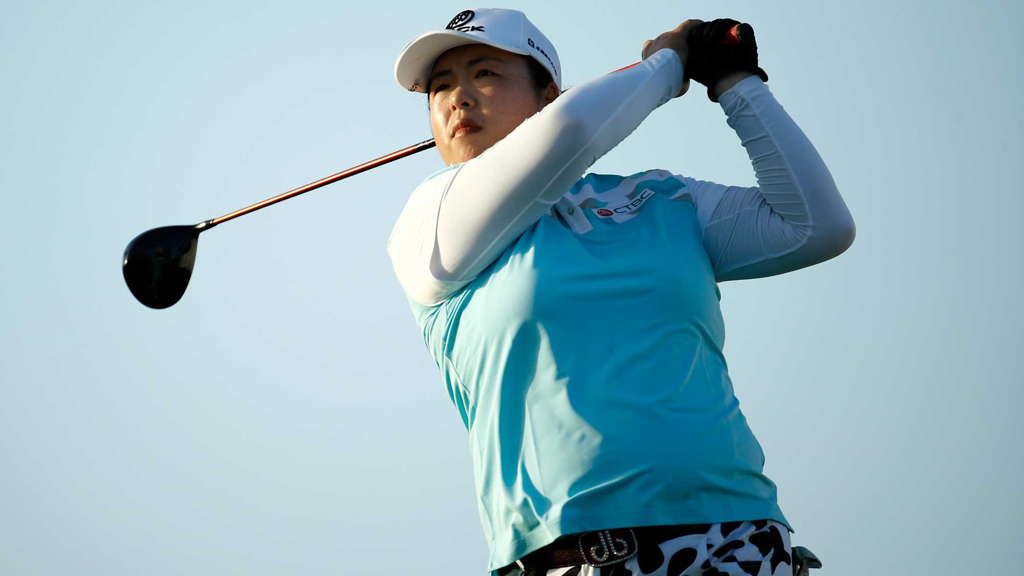 Shanshan Feng of China hits her tee shot on the 16th hole during the second round of the Pure Silk Bahamas LPGA Classic