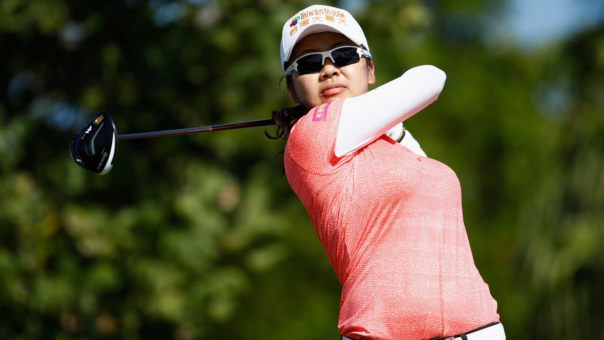 Wei-Ling Hsu of Taiwan hits her tee shot on the 4th hole during the final round of the Pure Silk Bahamas LPGA Classic