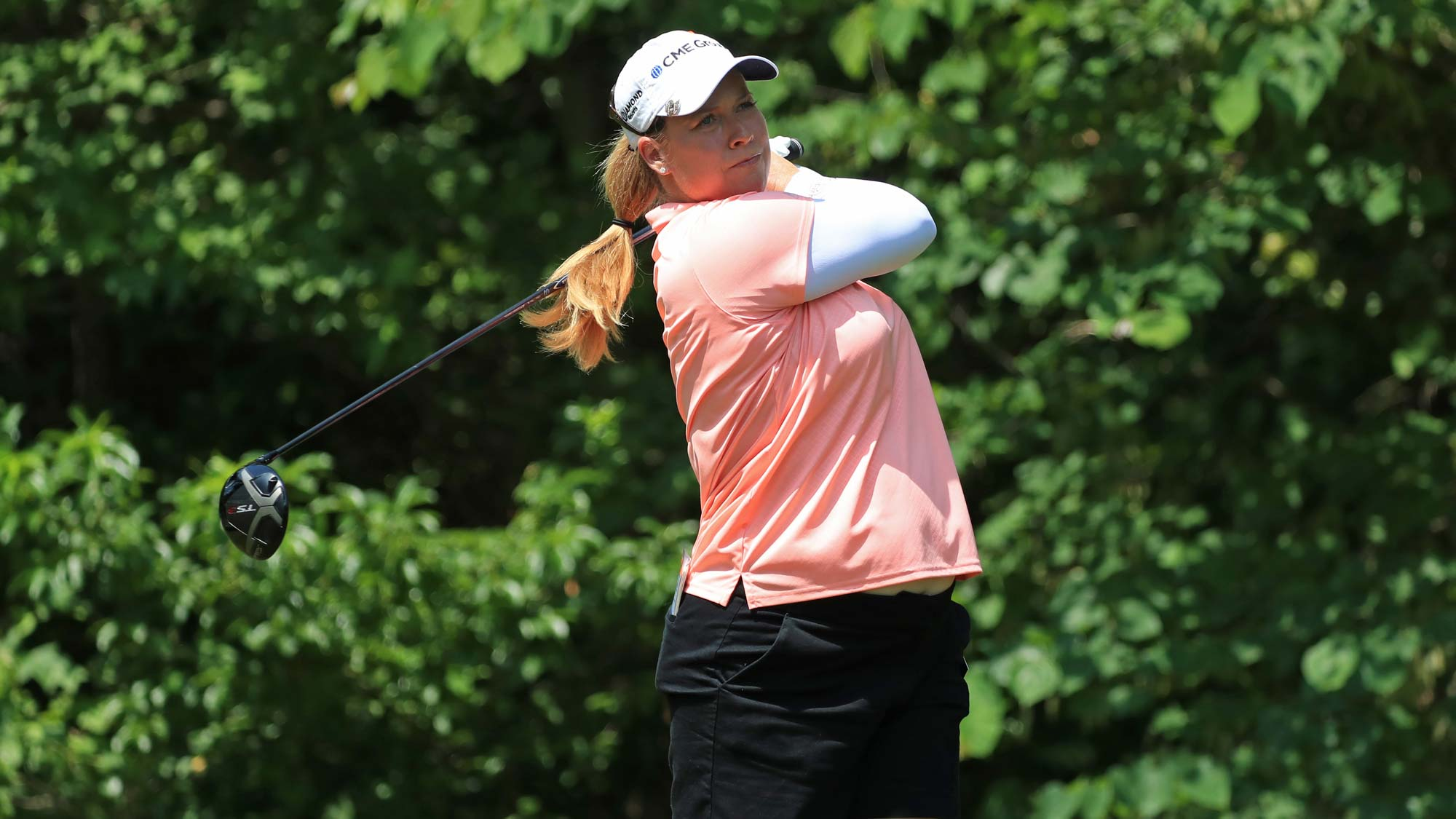 Brittany Lincicome hits her tee shot on the sixth hole during the second round of the Pure Silk Championship