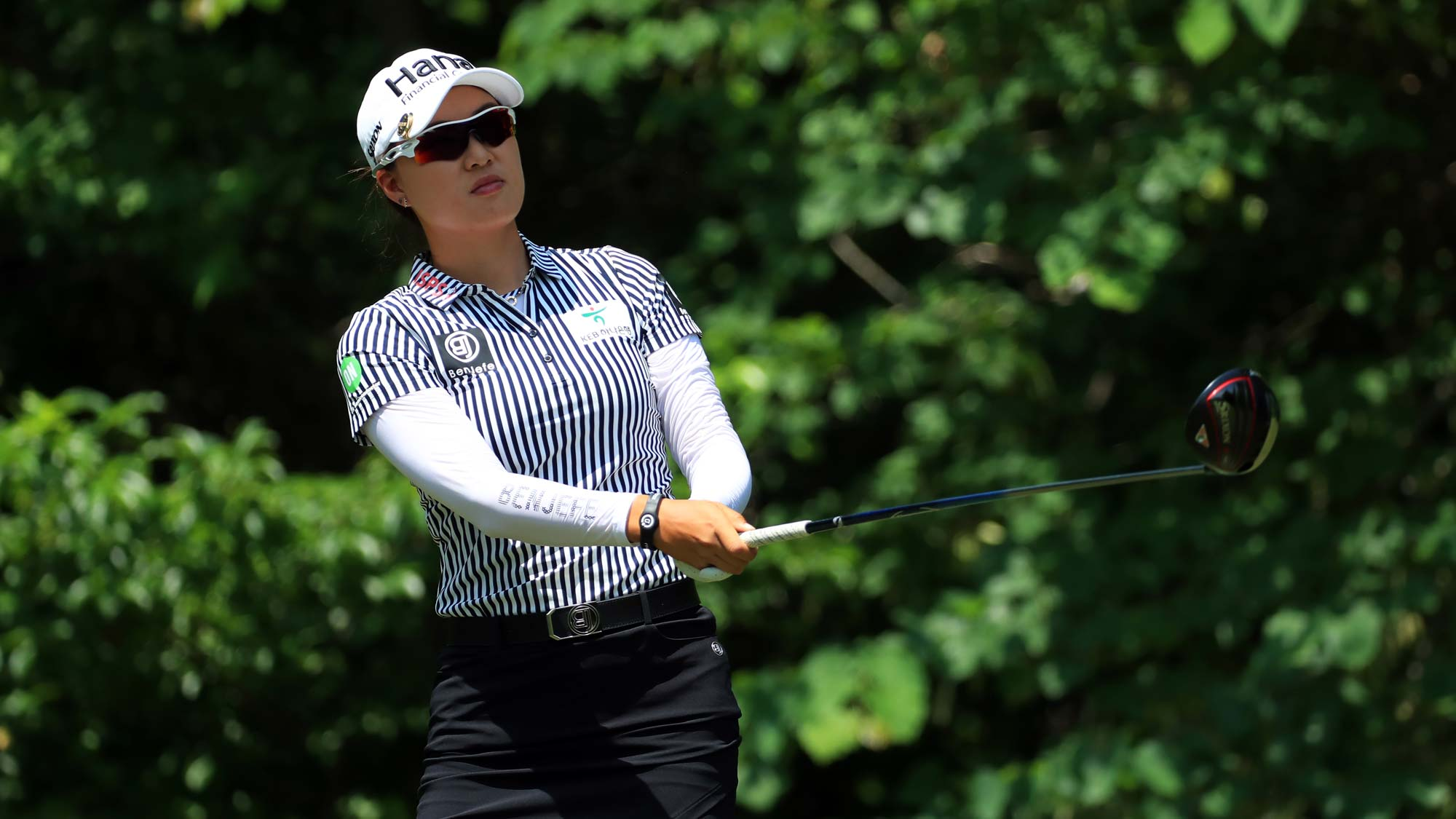 Minjee Lee of Australia watches her tee shot on the sixth hole during the second round of the Pure Silk Championship